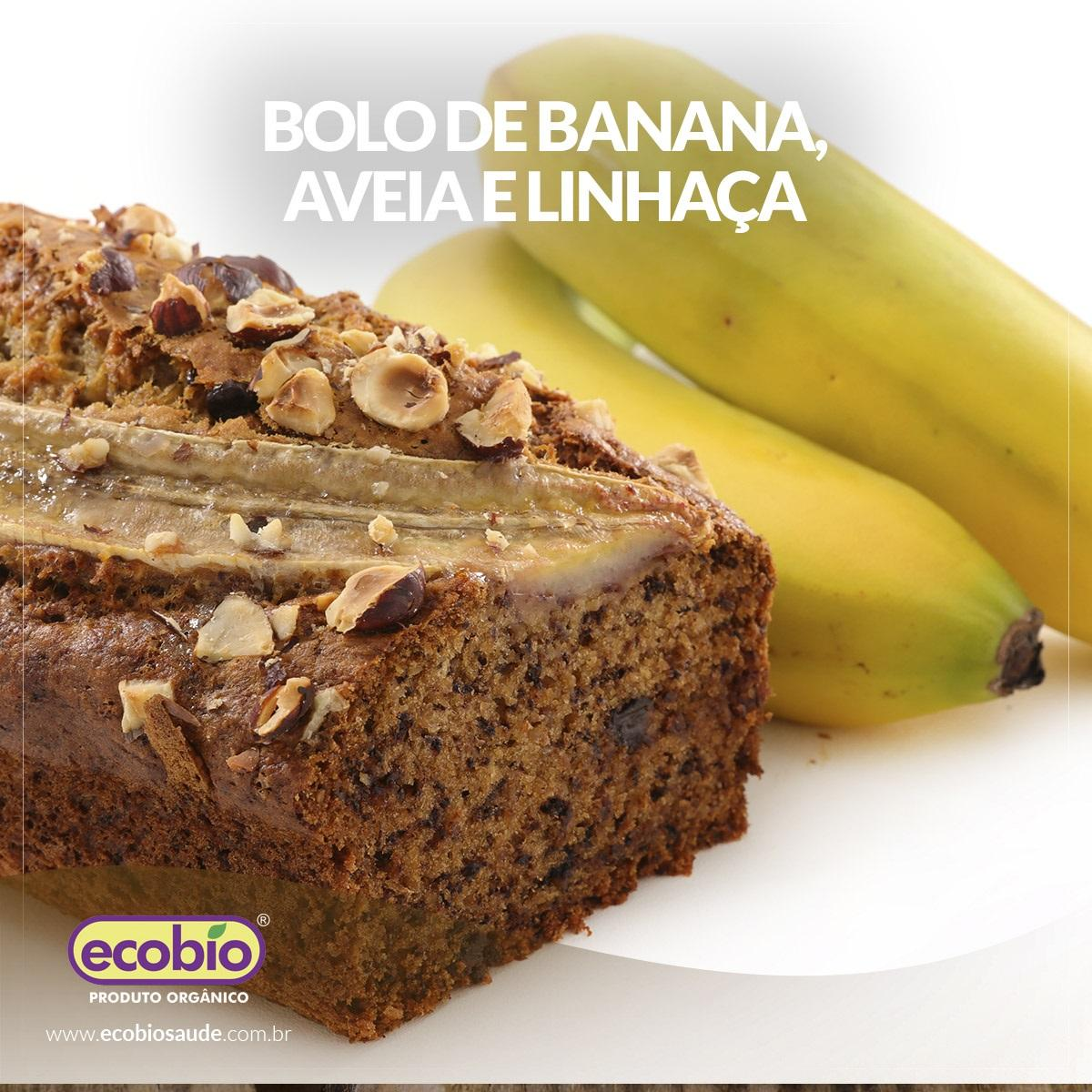 Bolo de banana, aveia e linhaça